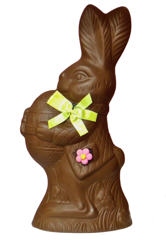 Homemade Chocolate Easter Bunny Holding Easter Egg