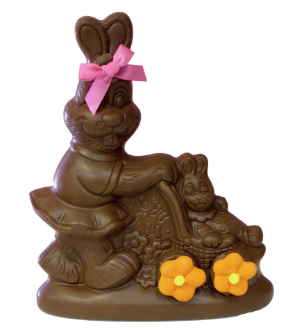 Homemade Chocolate Easter Bunny Pushing Baby Carriage