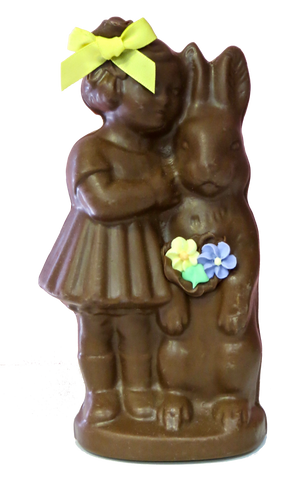 Homemade Chocolate Girl with Easter Bunny