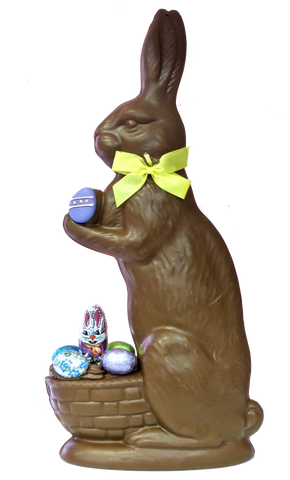 Homemade Chocolate Easter Bunny with Easter Basket