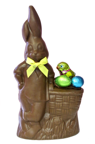 Homemade Chocolate Easter Bunny leaning on Easter Basket