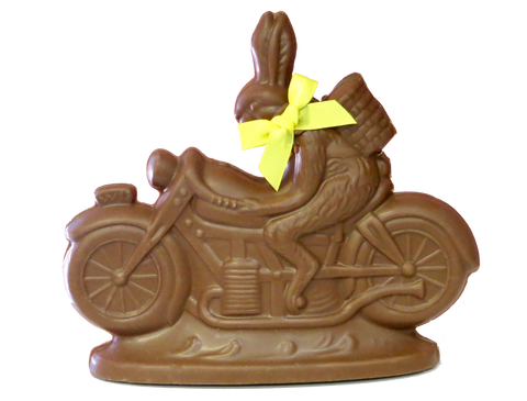 Homemade Chocolate Easter Bunny Riding Motorcycle