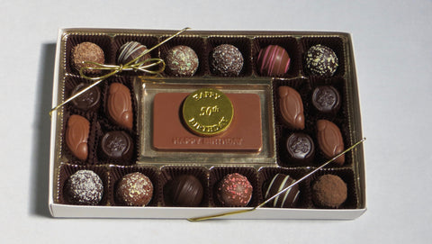 Happy Birthday - 50th Birthday Gift Box (Chocolate Bar, Solids and Truffles)