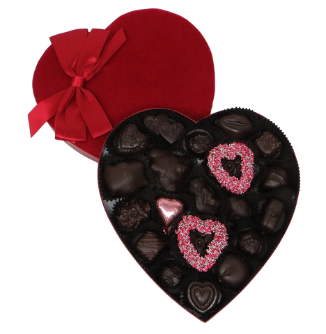 Homemade Chocolate Valentine's Day Velvet Heart - Assorted Dark Chocolates