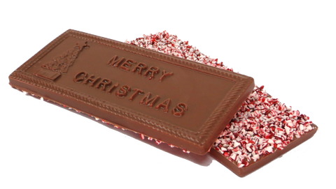 Homemade Milk Chocolate Peppermint Christmas Bar (Candy Cane)