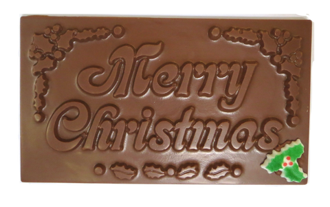 "Say ""Merry Christmas"" with a bar Homemade Milk Chocolate (with Holly)"