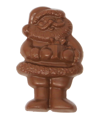 Homemade Solid Chocolate Santa Claus with Gift