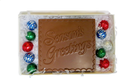 """Season's Greetings"" Homemade Chocolates (Boxed with foiled balls)"