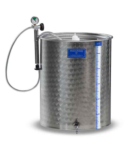 100 LITER TANK WITH VARIABLE CAPACITY LID - 8042 100 LITER STAINLESS STEEL TANK - WINE EQUIPMENT - Rhone Brew Company - 1