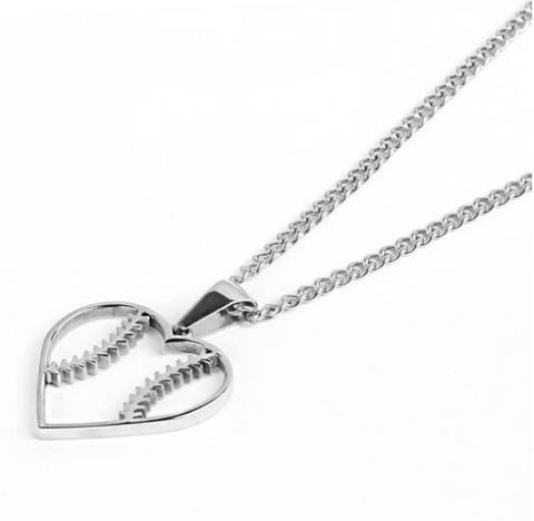 Stainless Baseball Stitched Heart Necklace