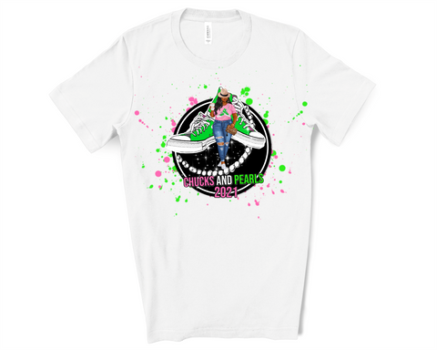 Inauguration Tee ~ Chucks & Pearls Paint Splatter Tee