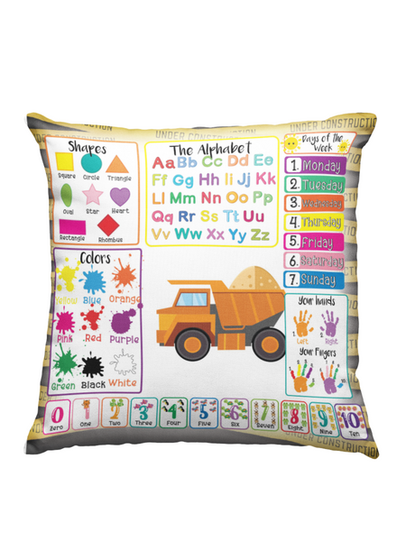Learning Pillow ~ Construction 18 x 18 Throw Pillow