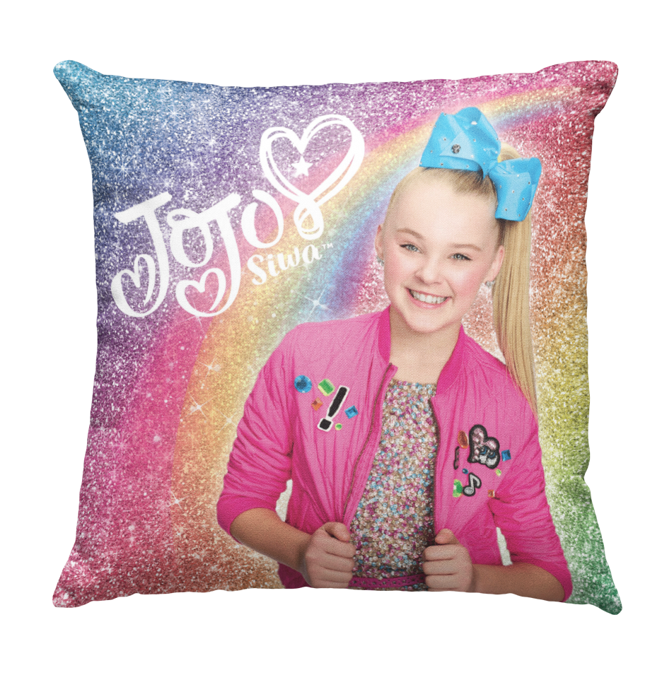 Learning Pillow ~ JoJo Inspired Glitter Rainbow 18x18 Throw Pillow