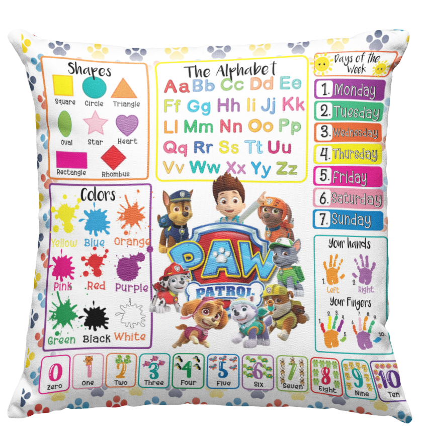 Learning Pillow ~ Paw Patrol Inspired 18 x 18 Throw Pillow