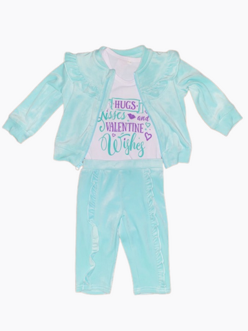 Valentines Day Gift Ideas ~ Cupid Is My Bestie Velour Toddler Jogging Suit