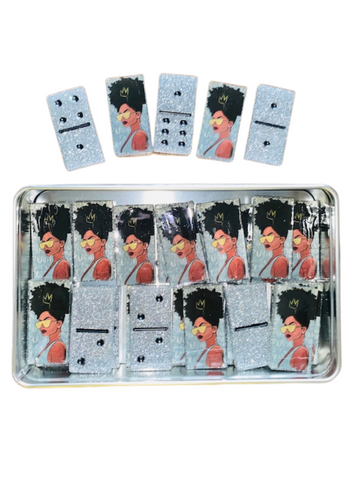Domino Set ~ Melanin Queen Silver Glitter