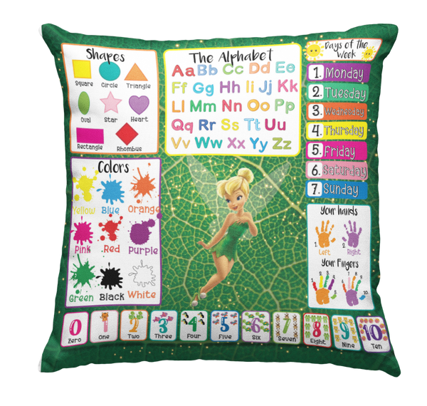 Learning Pillow ~ Tinker Bell Inspired 18 x 18 Throw Pillow