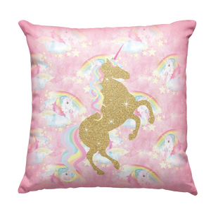 Learning Pillow ~ Pink Unicorn 18 x 18 Throw Pillow