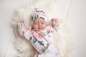 Pink Rose Ruffled Onesie Tie Set