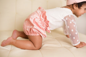 Pink Flower Velvet Bloomers for Babies and Toddlers
