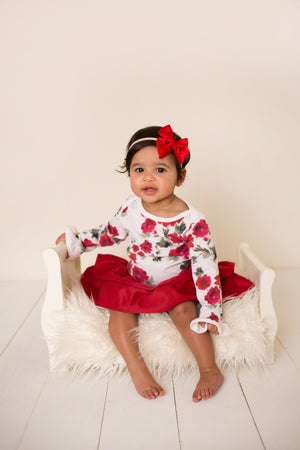 Red Velvet Ruffled Skirt Bloomers