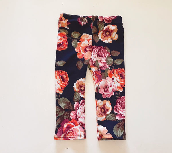 Black and Pink Floral Leggings