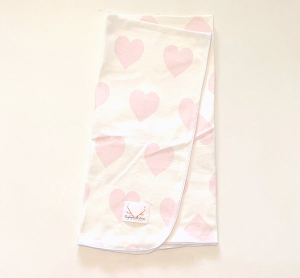 Pink Heart Swaddle Blanket©