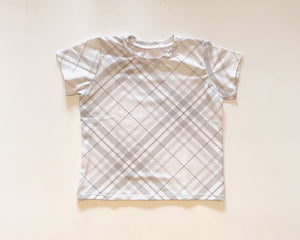 Modern Gray Plaid Short Sleeve Tee