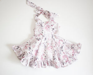 Grey and Pink Rose Sweetheart Ruffled Twirl Dress