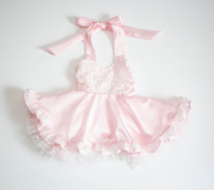 Satin and Lace Sweetheart Ruffled Twirl Dress