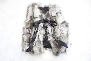 Grey and Black Faux Fur Vest