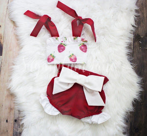 Strawberry Sunsuit Set © Rompers And Leotards