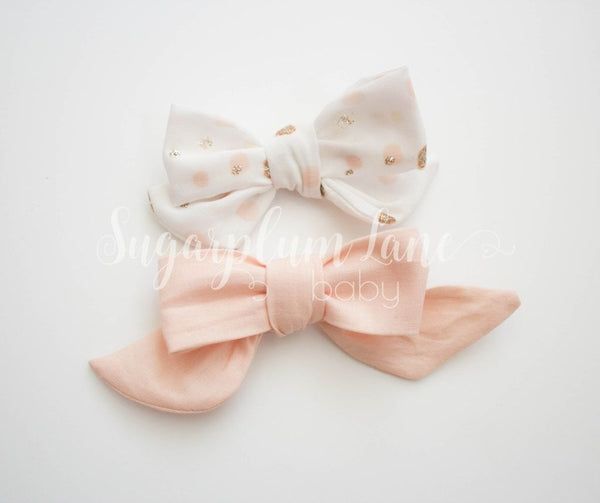 Peach Bow Set Headbands