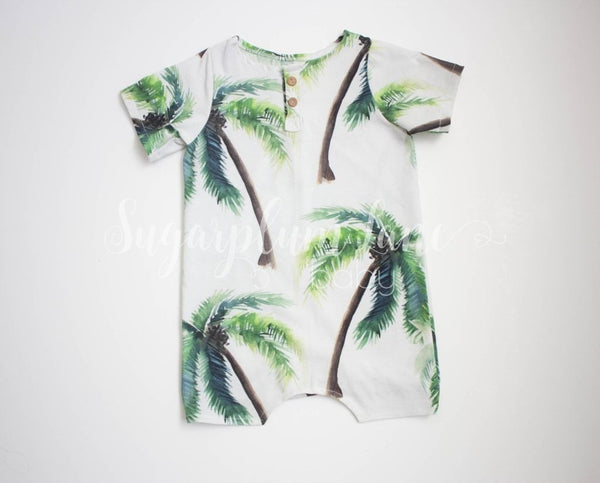 Palm Tree Shorts Romper Rompers And Leotards