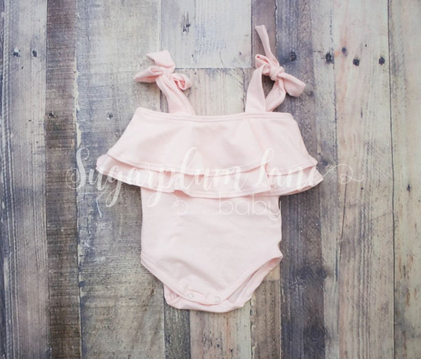Blush Double Ruffle Tie Leotard © Rompers And Leotards