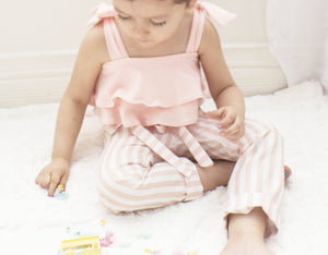3-6 Month Blush Double Ruffle Tie Leotard ©