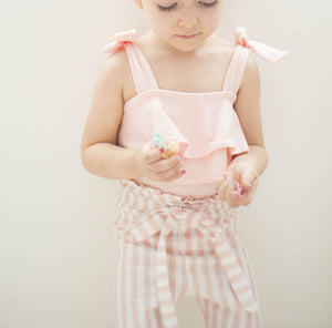 Blush Double Ruffle Tie Leotard ©