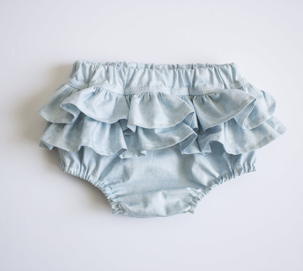 Light Blue Acid Wash Denim Cotton Ruffle Bum Bloomers