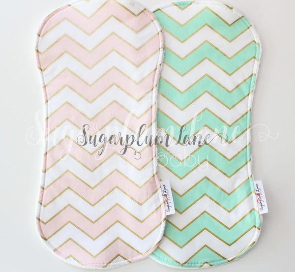 Gorgeous Metallic Gold Chevron Collection - Set of 2