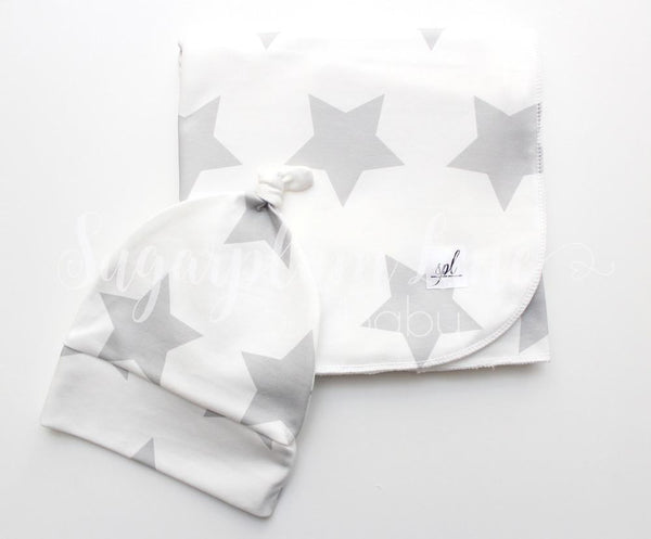 Organic Swaddling Blanket OR Knot Hat- White with Grey Stars