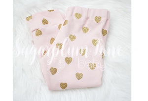 Gold Glitter Heart Leggings