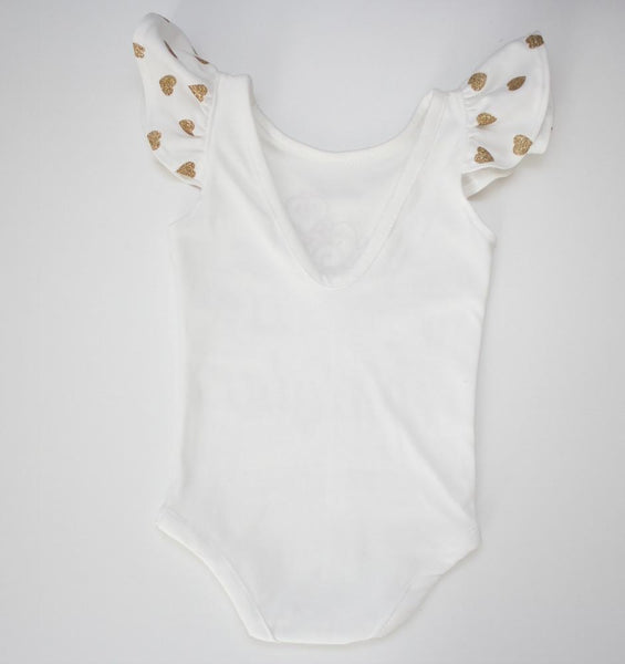 Princess Custom Name Baby/Toddler Leotard with Glitter Heart Flutter Sleeves