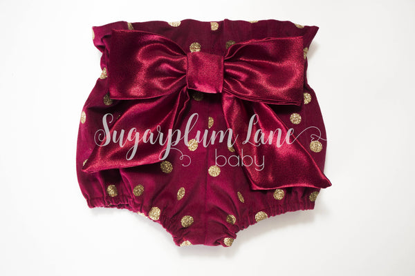 Ruby Glitter Dot Bloomers for Babies and Toddlers