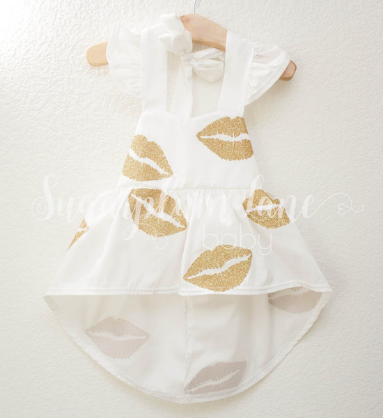 Gold Glitter Lips Dress