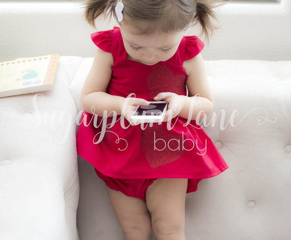 Red Valentines Day Glitter Heart Dress