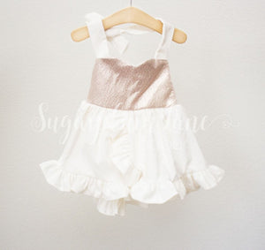 Rose Gold Velvet Sweetheart Dress ©