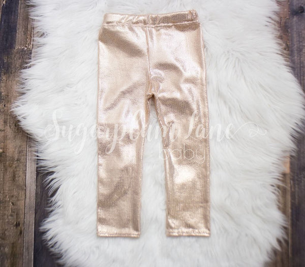 Shiny Rose Gold Leggings For Babies And Toddlers