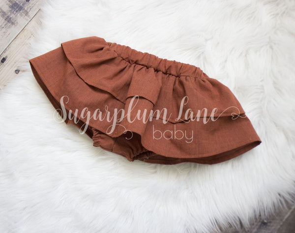 Cinnamon Spice Ruffled Skirt Bloomers