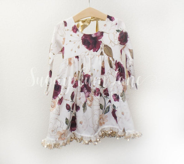 Holiday Flower Tie Back Button Dress ©