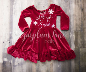 Let It Snow Sparkle Velvet Twirl Dress © Rompers And Leotards
